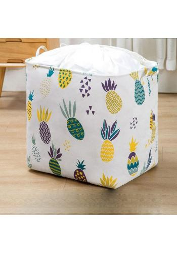 Biely kôš na hračky alebo bielizeň so sťahovacou šnúrkou a s potlačou ananásov