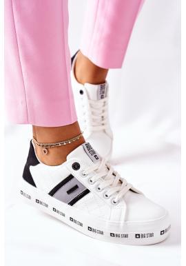 Kožené dámske tenisky na vyvýšenej podrážke Big Star bielej farby