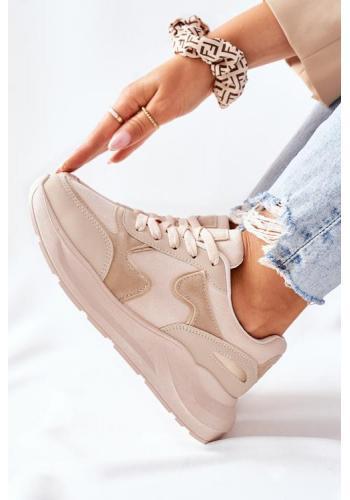 Módne dámske Sneakersy v béžovej farbe