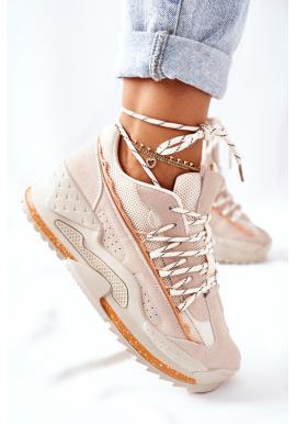 Béžové športové Sneakersy na platforme pre dámy