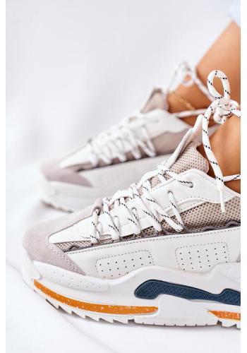 Dámske športové Sneakersy na platforme v bielej farbe