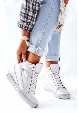 Strieborné kožené Sneakersy pre dámy