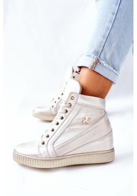 Kožené dámske Sneakersy v zlatej farbe