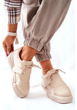 Béžové športové Sneakersy na masívnej podrážke pre ženy