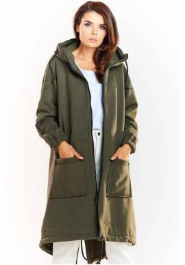 Dámska teplá dlhá mikina s kapucňou v kaki farbe