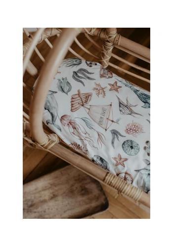 Prestieradlo na oválny matrac do kočíka 100% bavlna - svet oceánu
