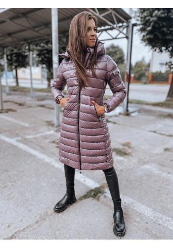 Fialová dlhá prešívaná bunda s kapucňou pre dámy