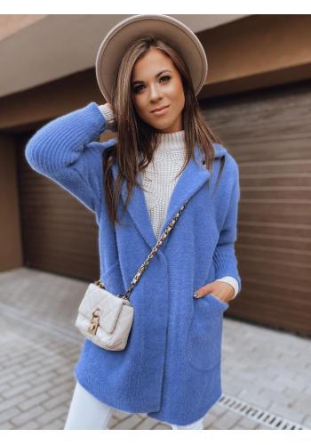 Dámsky jesenný kabát alpaka s vreckami v modrej farbe