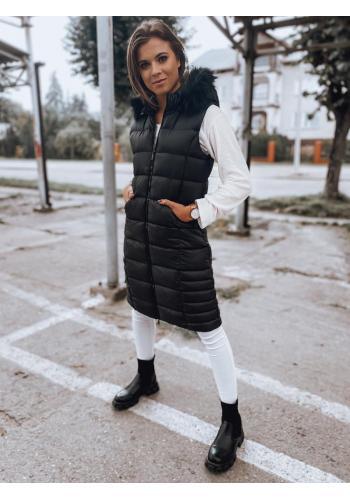 Čierna prešívaná vesta s kapucňou pre dámy
